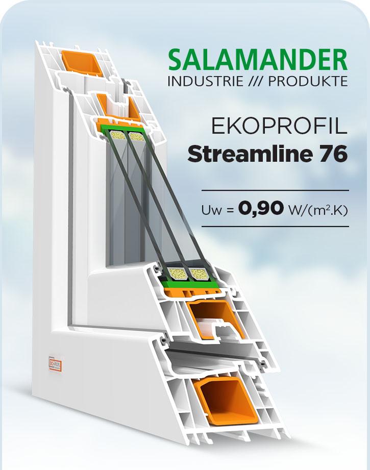Plastove okno Salamander streamline 76